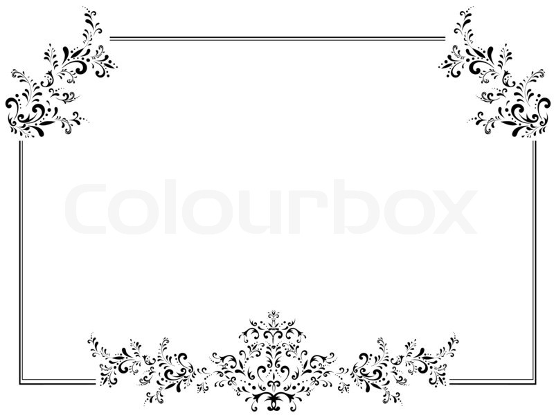 Illustration of vintage floral frame in black and white with ...