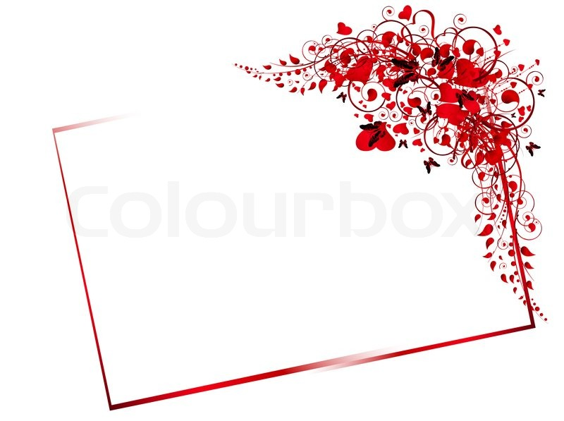 Illustration of floral red frame with swirls, butterfly and hearts ...