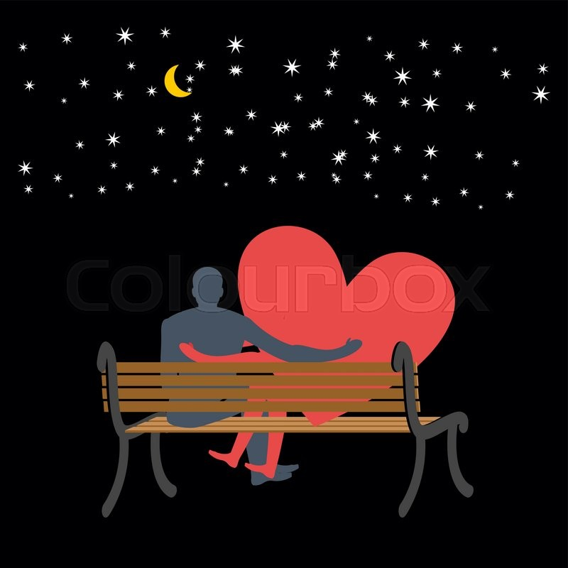 Lovers Looking At Stars Date Night Man And Love Sitting On Bench