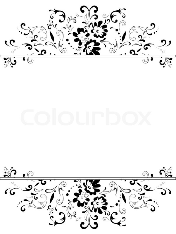 Illustration Of Vertical Vintage Floral Frame In Black And White With Copyspace