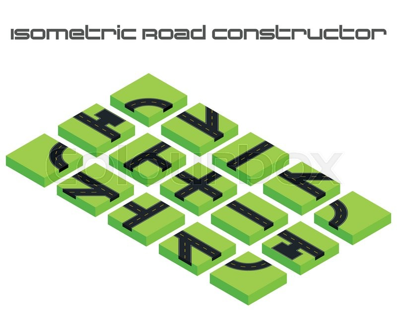 Isometric Vector Roads Constructor Kit To Create Your D City Or - Create street map