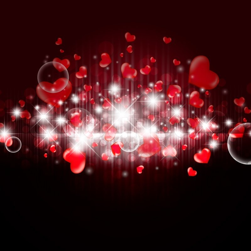 Bright valentine background with hearts and lights stock photo