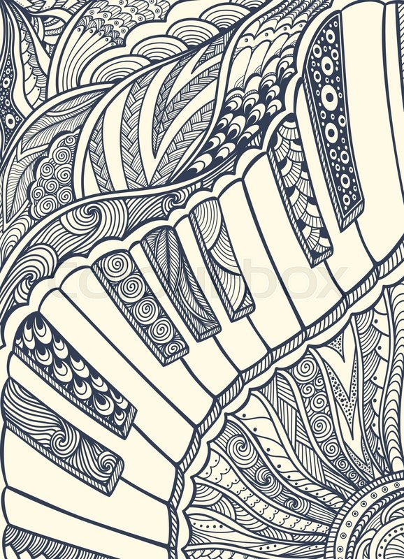 Zen Doodle Piano Keyboard With Tangle Ornament Style Black On White For Coloring Page Or Relax Book Wallpaper Decorate Package