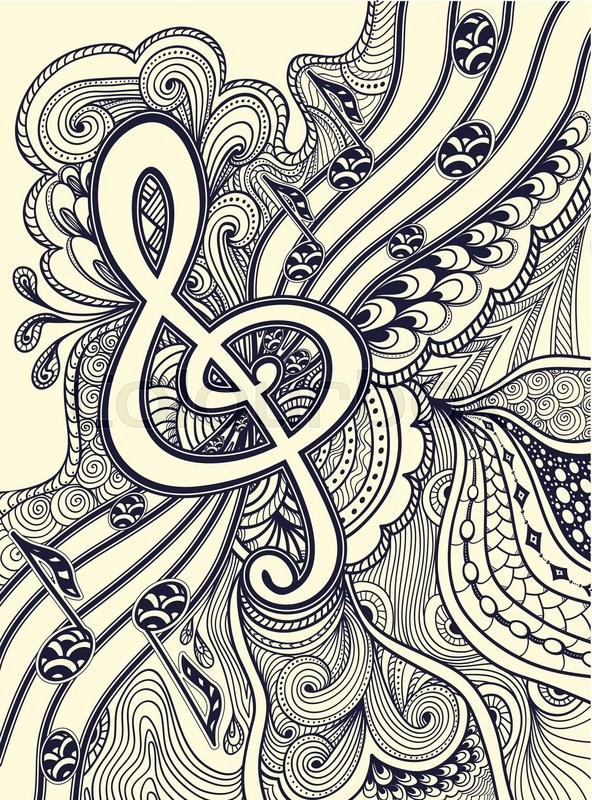 Zendoodle treble clef notes musical stanza with Zen