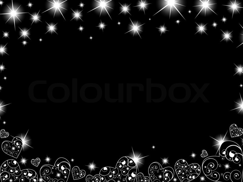 Abstract Background In Black And White With Hearts Stars