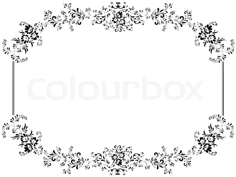 Illustration of vintage floral frame with copyspace | Stock Photo ...