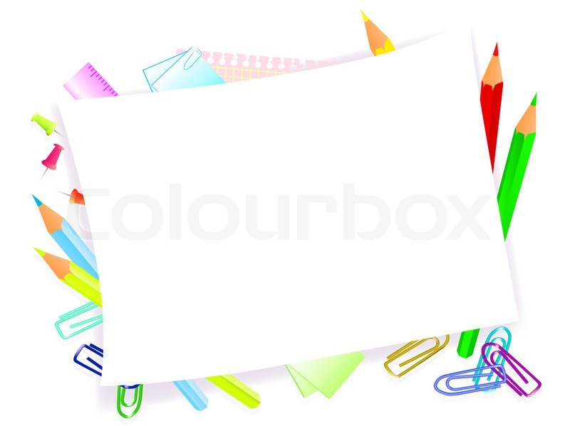 school supplies with frame for tour text stock photo