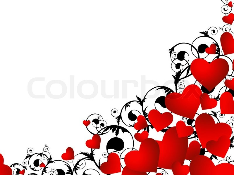 horizontal heart frame in red and black with swirls and copyspace for your text stock photo colourbox - Heart Frame