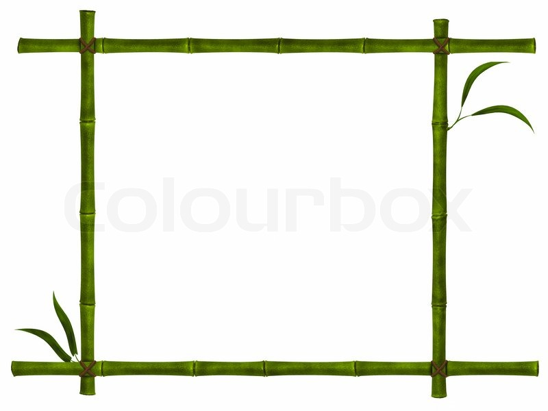 Illustration der Bambus -Rahmen mit Blättern auf weißem | Stockfoto ...