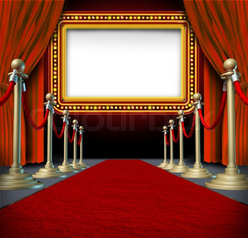 Movie And Theatre Marquee Blank Sign With Elegant Velvet Curtains A Red Carpet Gold Barriers Roped Off Billboard In Lights As An Icon Of