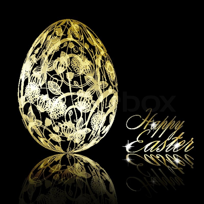 Abstract Golden Easter Egg On Black Background Vector Eps10 Illustration