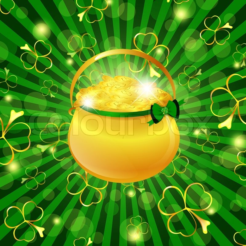 St Patrick Day Theme Golden Pot With Money Over Green