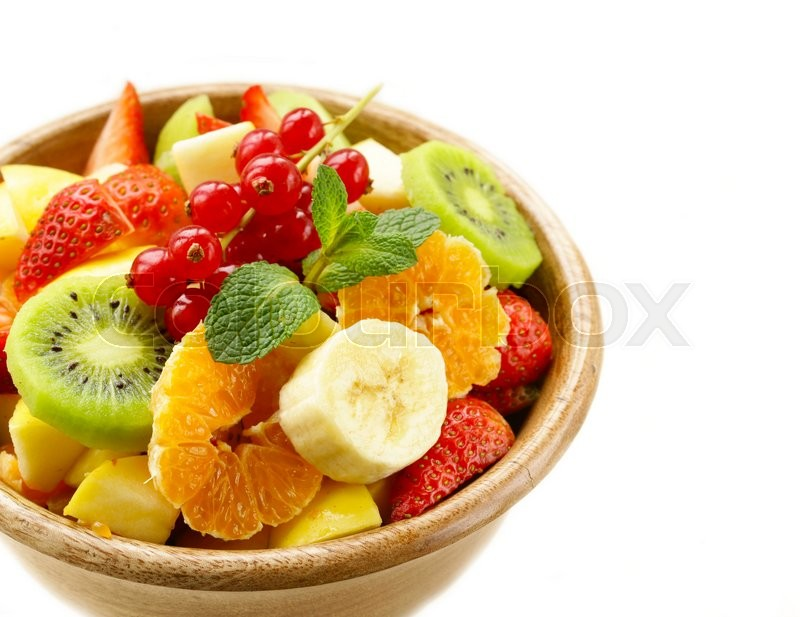 Stock image of 'Fresh organic fruit salad (kiwi, strawberry, banana, currant, apple)'
