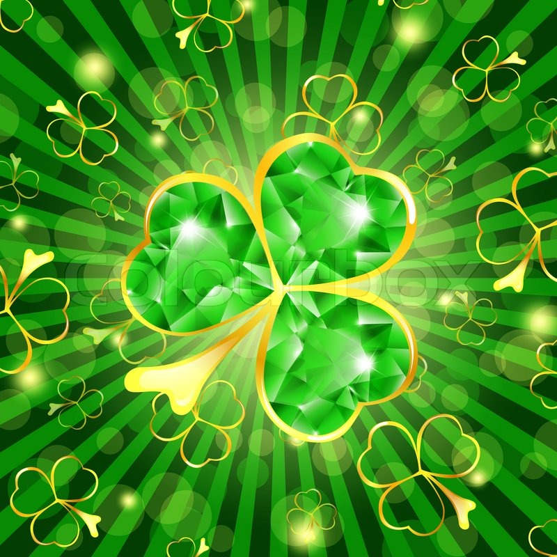 StPatrick Day Theme Emerald Shamrock Over Green Background
