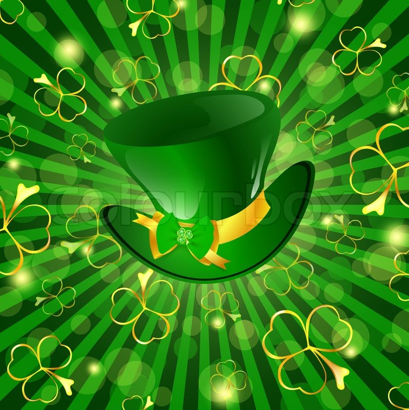 st patrick day theme hat with bow over green background with