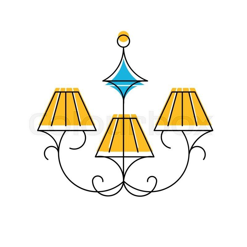 Vector illustration of Chandelier line icon hanging lamp logo – Chandelier Logo