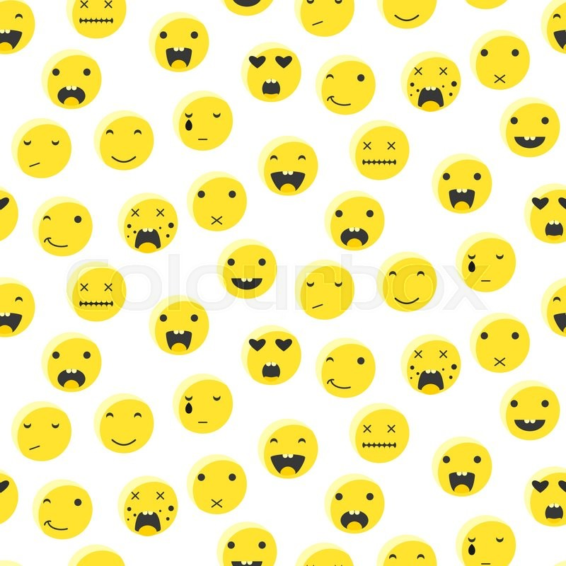 Yellow round smile emoji seamless pattern emoticon icon flat style yellow round smile emoji seamless pattern emoticon icon flat style vector background expression comic emoji smiley face icons stock vector colourbox voltagebd Image collections