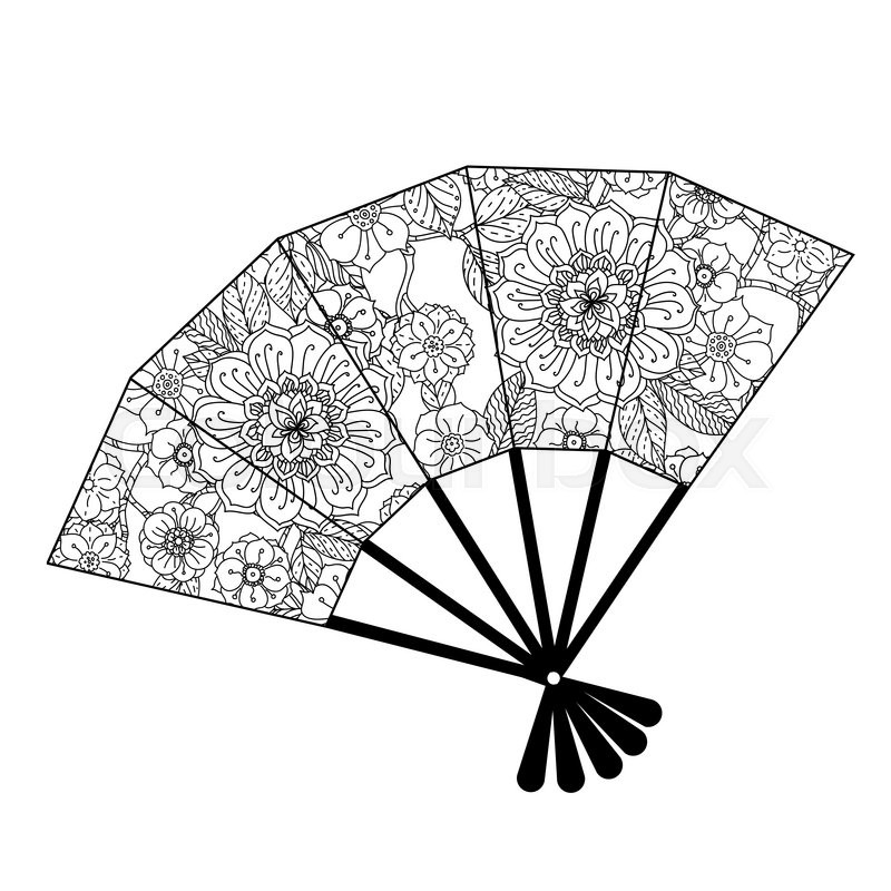 Uncoloured Oriental Fan Decorated With Floral Patterns For