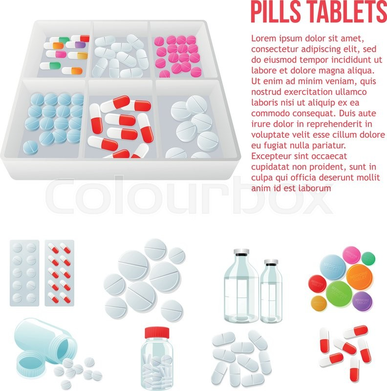 Packaging Of Medicines Various Pills Stock Vector Colourbox