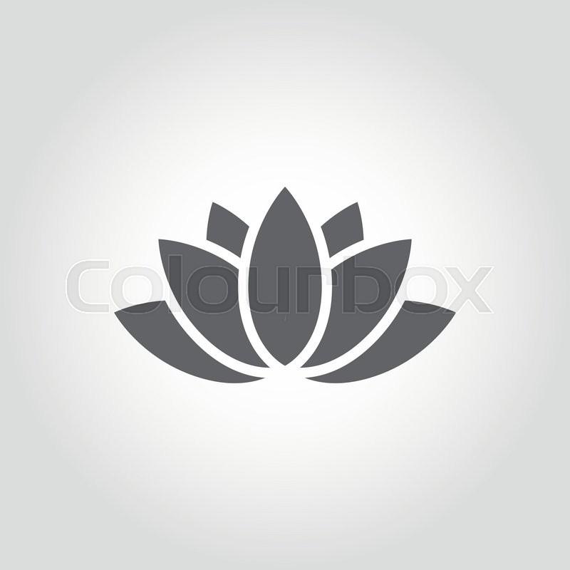 Vector Black Lotus Icon On Grey Background Lotus Plant