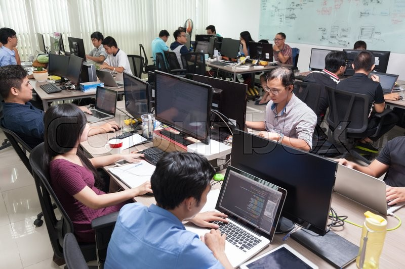 Asian Software Developers Business People Sitting Desk Working Laptop Computer Businesspeople Team Real Office, stock photo