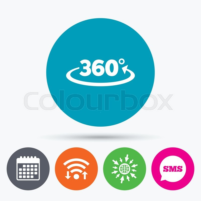 Wifi Sms And Calendar Icons Angle 360 Degrees Sign Icon Geometry