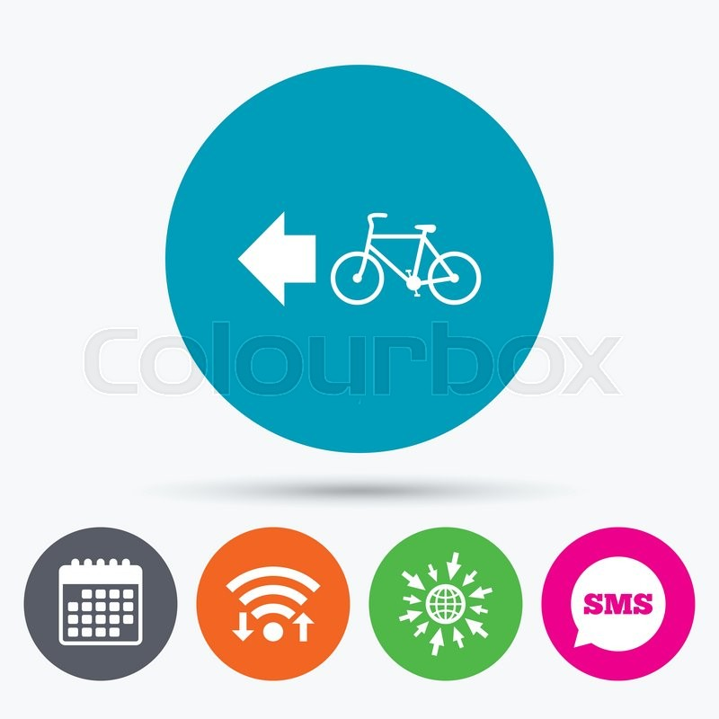 Wifi Sms And Calendar Icons Bicycle Path Trail Sign Icon Cycle