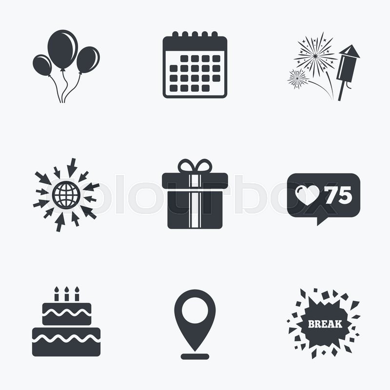 Calendar Like Counter And Go To Web Icons Birthday Party Icons