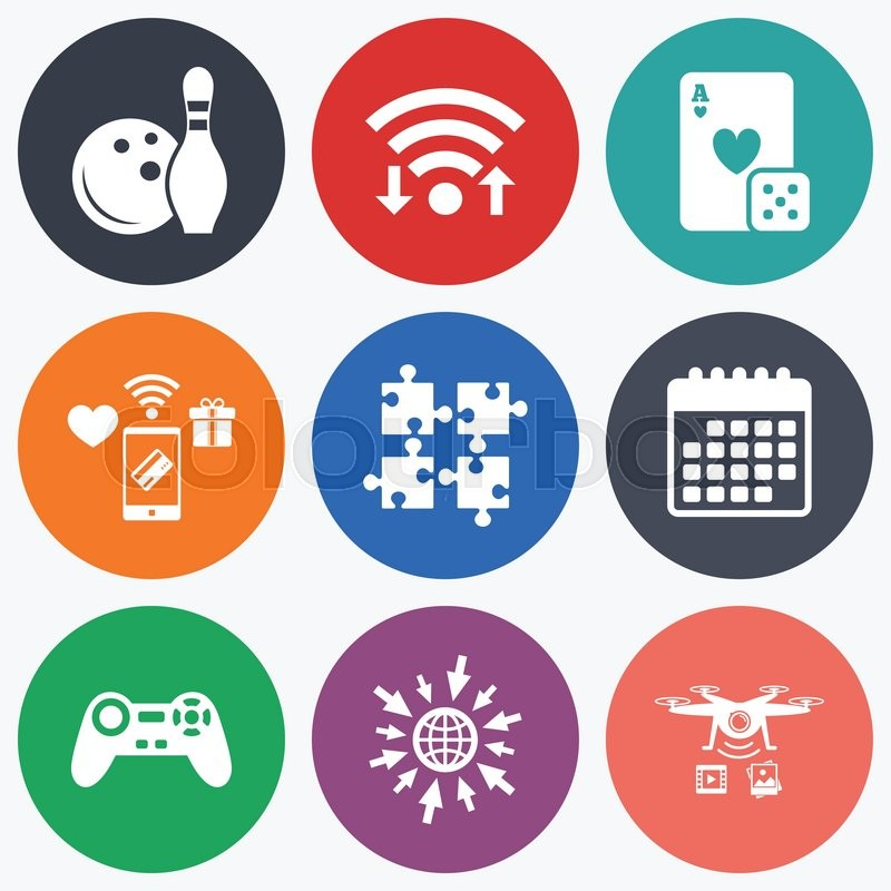 Wifi Mobile Payments And Drones Icons Bowling And Casino Icons