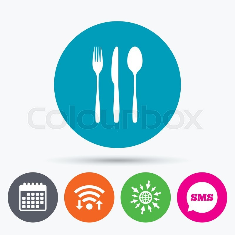 Wifi Sms And Calendar Icons Fork Knife Tablespoon Sign Icon