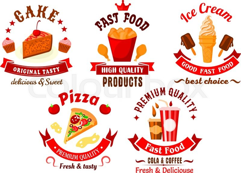 Fast Food And Pastry Cartoon Bright Symbols With Italian Pizza