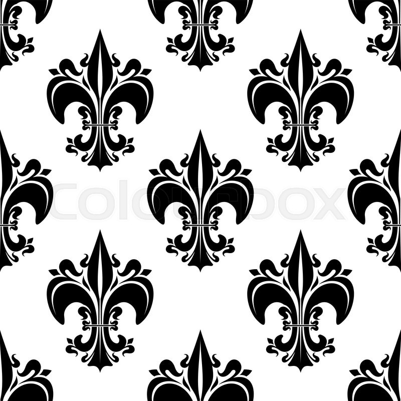 decorative seamless black fleur de lis pattern of florid french