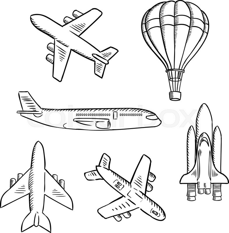 Air Transport Sketches With Jet Airplane Cargo Planes Vintage Hot