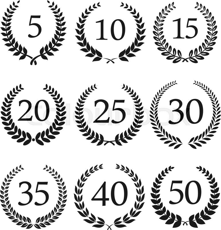 Congratulatory Laurel Wreaths Symbols For Anniversary Or Jubilee