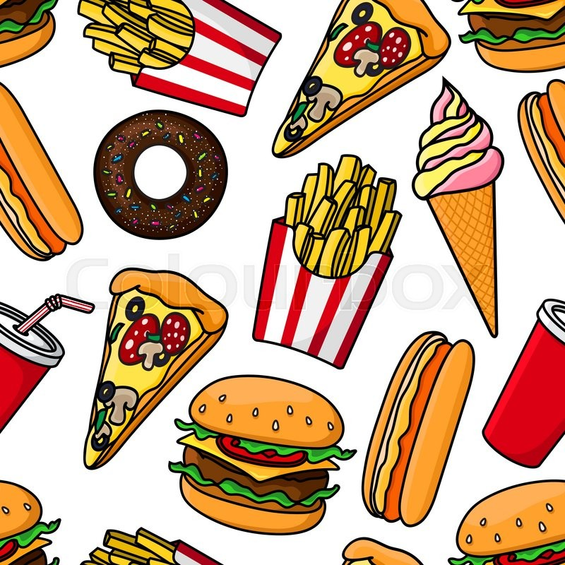 Junk Food And Drinks Seamless Pattern Stock Vector