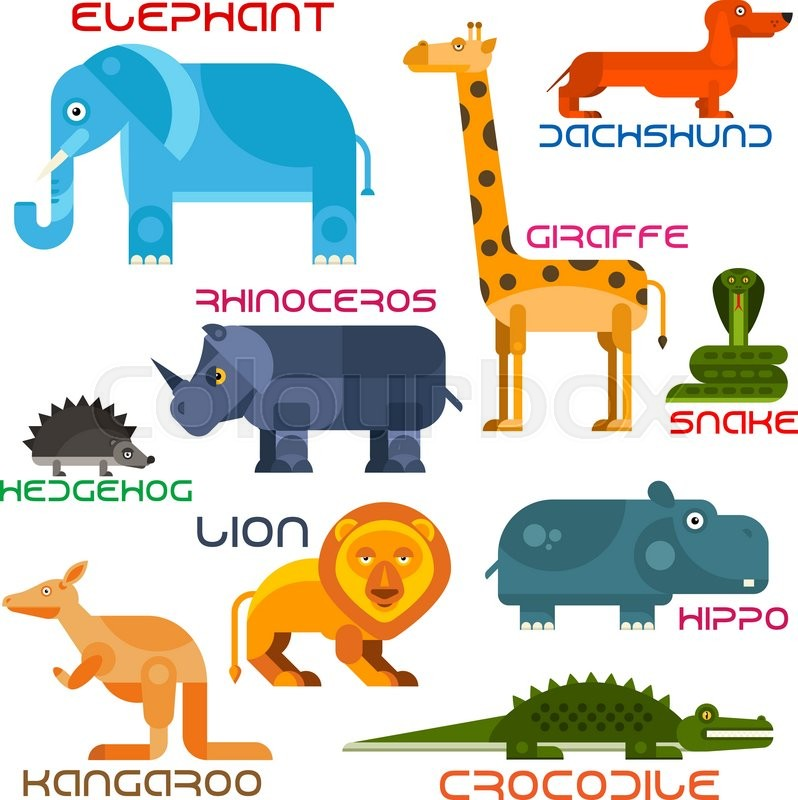 Bright Cartoon Icons Of Animals With Flat Silhouettes African Elephant Giraffe Lion Rhino Hedgehog Dachshund Hippo Crocodile Kangaroo And Snake