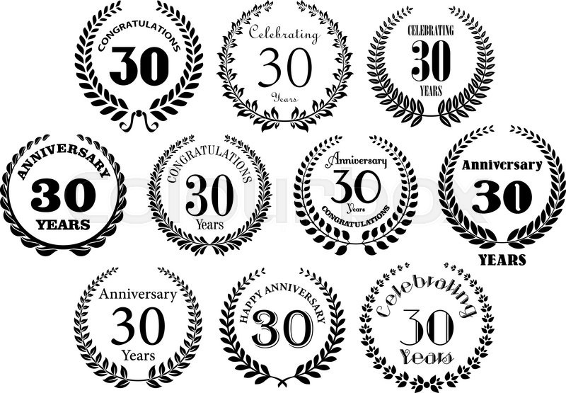Retro stylized decorative 30th years anniversary laurel wreaths decorative 30th years anniversary laurel wreaths black symbols with greeting text great for invitation festive event and jubilee design usage vector stopboris Images