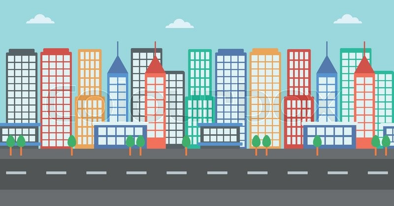 Background Of Modern City And A Road Vector Flat Design Illustration Horizontal Layout