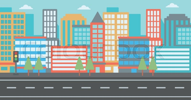 Background of modern city and a road vector flat design illustration ...