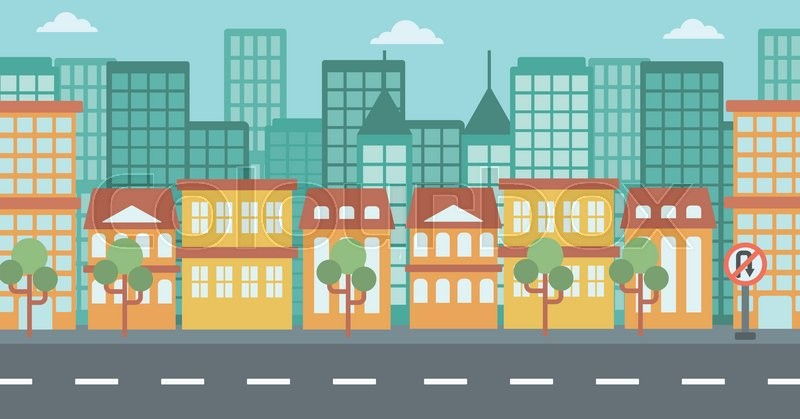 background of modern city and a road vector flat design illustration horizontal layout stock vector colourbox