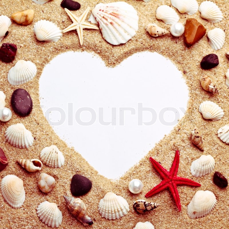 Heart made with shells photo frame of mats and sea for What are shells made of