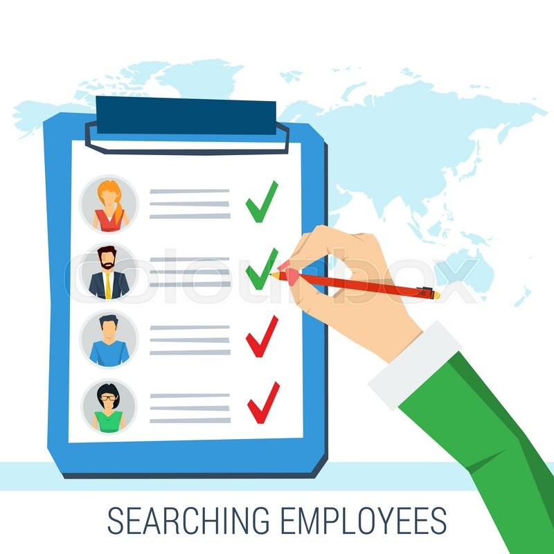 vector concept employee search  list candidates to work