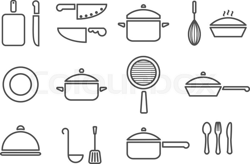 Vector kitchenware line icon set cookware trendy design | Stock Vector |  Colourbox