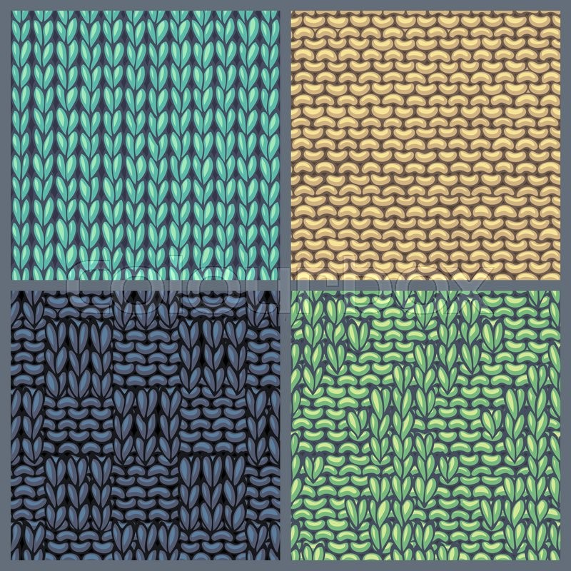 Seamless knitting textures set. Basic knitting stitch. Garter stitch ...