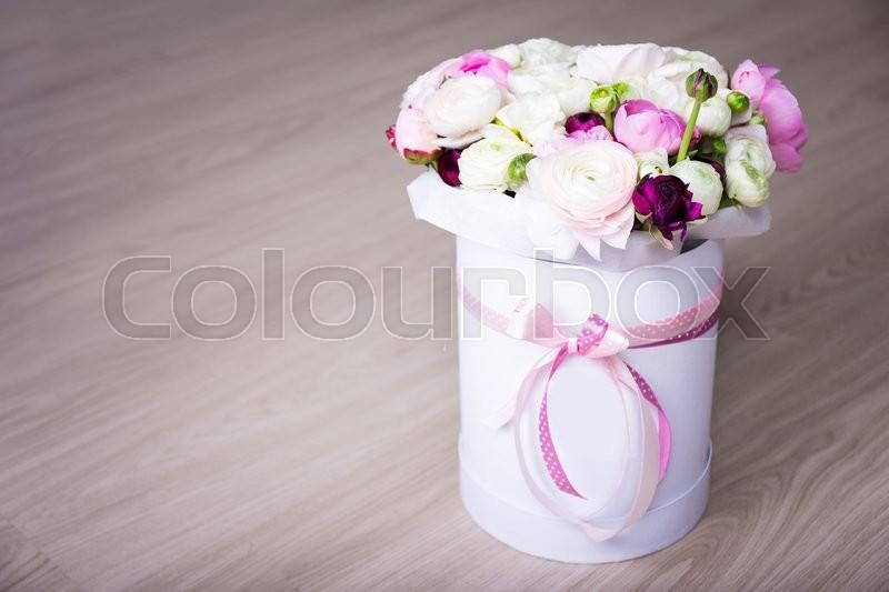 Bouquet of summer flowers in white round box on wooden background bouquet of summer flowers in white round box on wooden background stock photo colourbox mightylinksfo