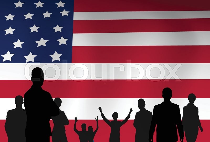 silhouette people group over united states american flag background vector illustration vector