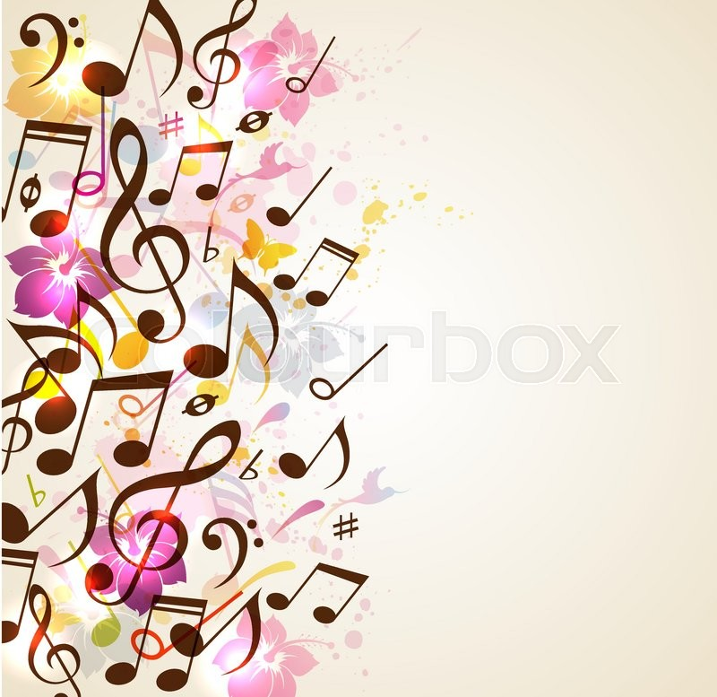 Abstract vector music background with notes and tropical ...