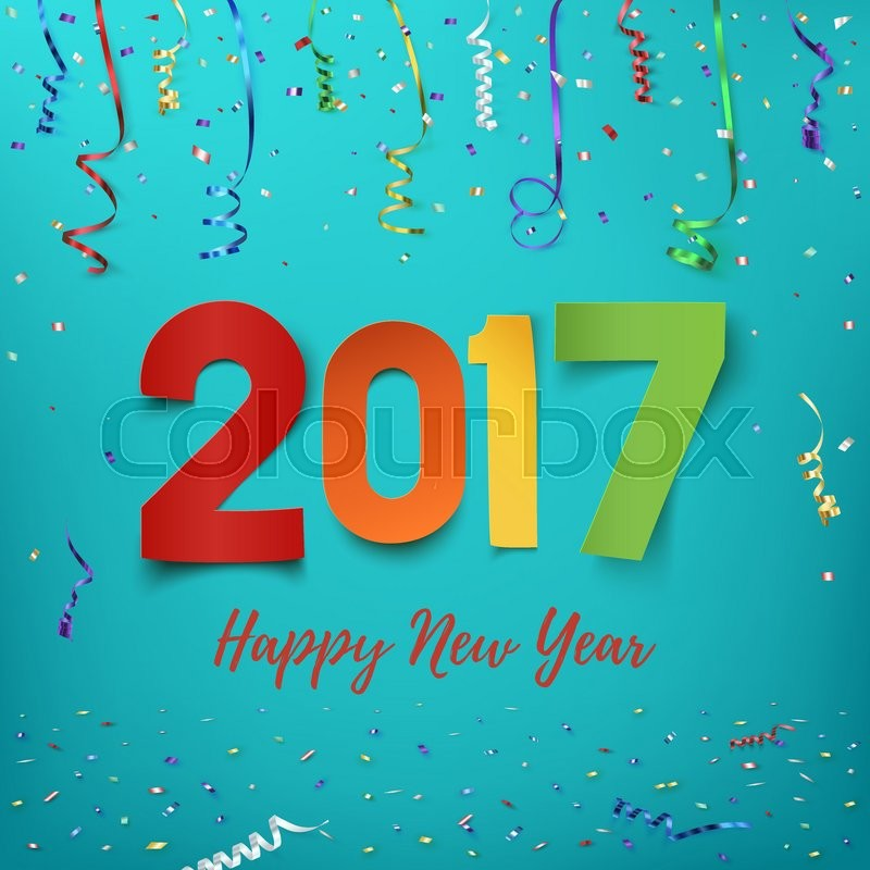 Happy New Year 2017 Background. Colorful, Hand Drawn Paper