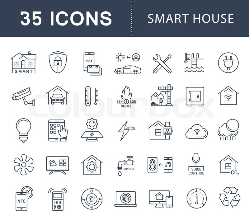 set vector line icons with open path smart home smart systems and technology with elements for. Black Bedroom Furniture Sets. Home Design Ideas