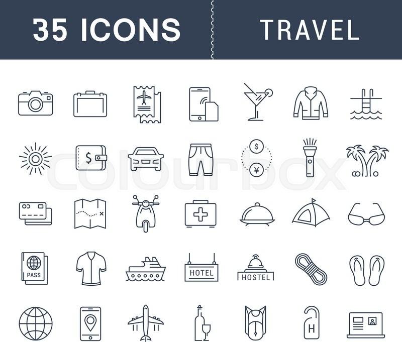 Set Vector Line Icons Travel Hotel Service Resort
